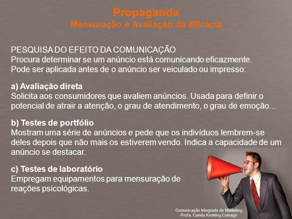 Comunicação Integrada de Marketing Profa. Camila Krohling Colnago PESQUISA DO EFEITO DA COMUNICAÇÃO Procura determinar se um anúncio está comunicando