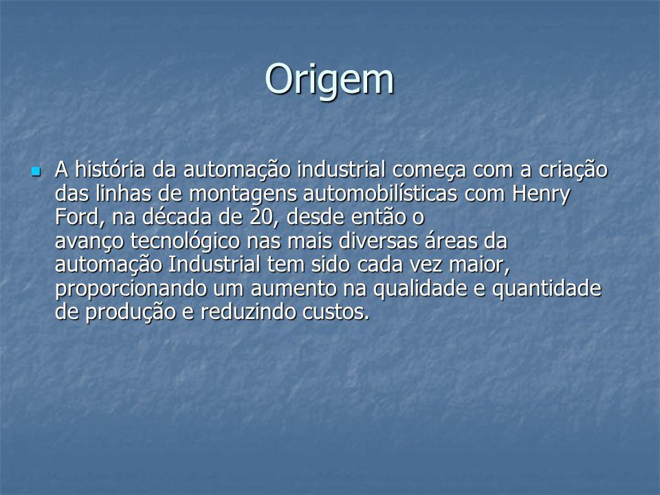 Origem A história da automação industrial começa com a criação das linhas de montagens automobilísticas com Henry Ford, na década de 20, desde então o