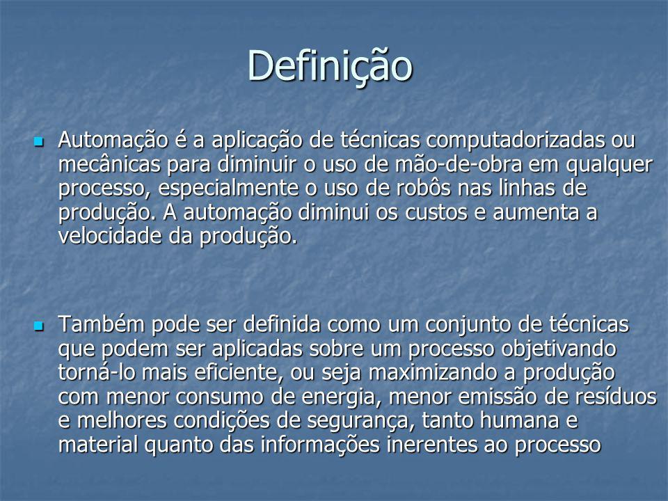 Definição Automação é a aplicação de técnicas computadorizadas ou mecânicas para diminuir o uso de mão-de-obra em qualquer processo, especialmente o u
