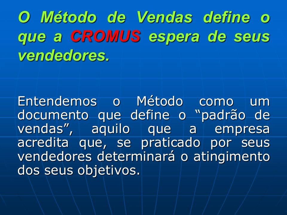 O Método de Vendas define o que a CROMUS espera de seus vendedores. Entendemos o Método como um documento que define o padrão de vendas, aquilo que a