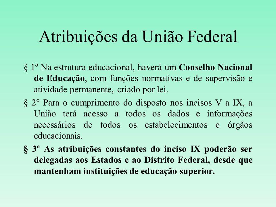 Atribuições da União Federal § 1º Na estrutura educacional, haverá um Conselho Nacional de Educação, com funções normativas e de supervisão e atividad