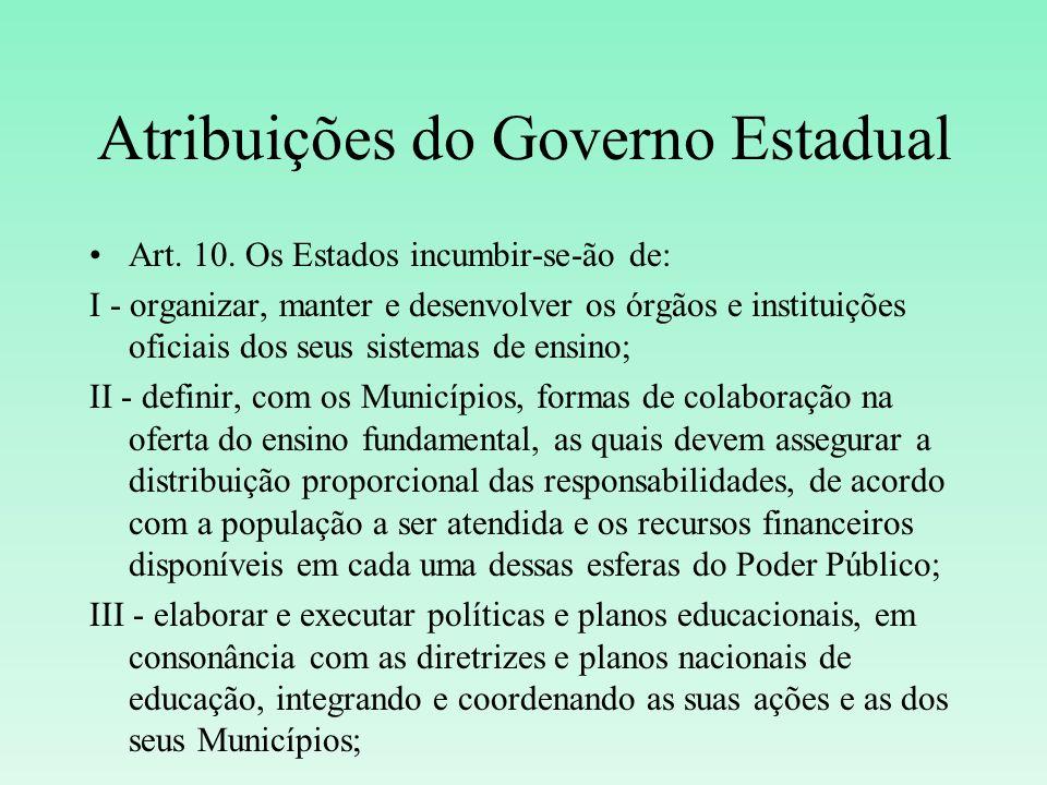 Atribuições do Governo Estadual Art. 10. Os Estados incumbir-se-ão de: I - organizar, manter e desenvolver os órgãos e instituições oficiais dos seus