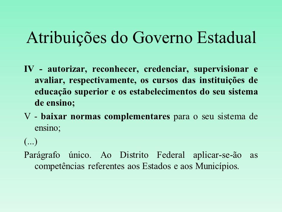 Atribuições do Governo Estadual IV - autorizar, reconhecer, credenciar, supervisionar e avaliar, respectivamente, os cursos das instituições de educaç