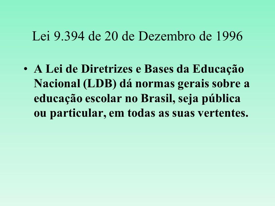 Lei 9.394 de 20 de Dezembro de 1996 A Lei de Diretrizes e Bases da Educação Nacional (LDB) dá normas gerais sobre a educação escolar no Brasil, seja p