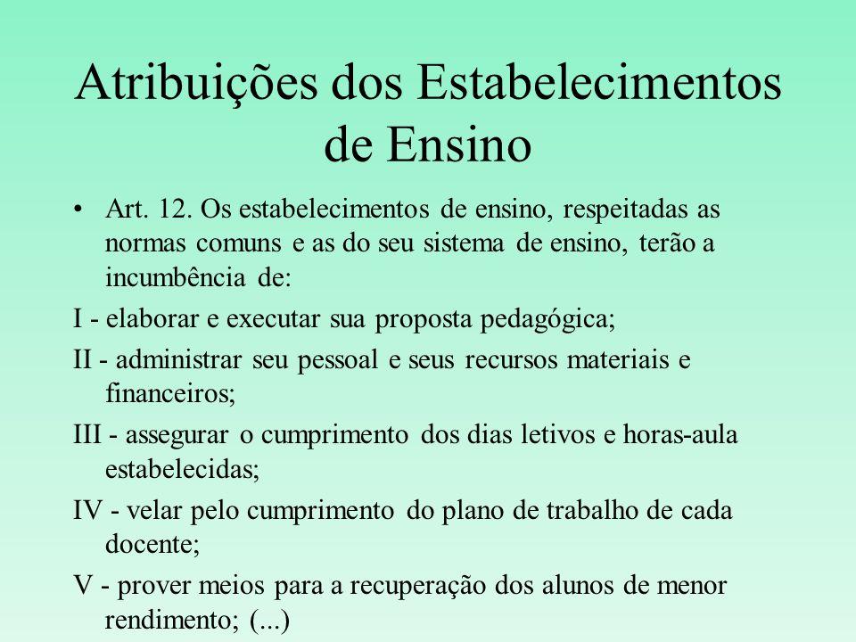 Atribuições dos Estabelecimentos de Ensino Art. 12. Os estabelecimentos de ensino, respeitadas as normas comuns e as do seu sistema de ensino, terão a