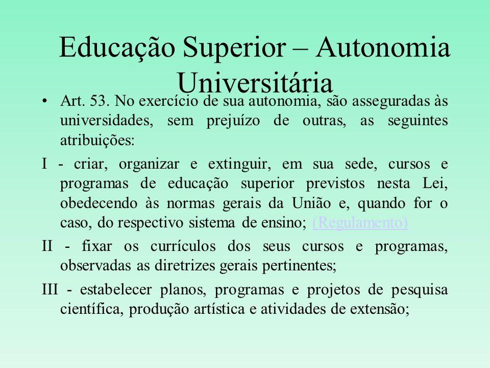 Educação Superior – Autonomia Universitária Art. 53. No exercício de sua autonomia, são asseguradas às universidades, sem prejuízo de outras, as segui