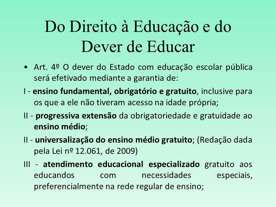 Do Direito à Educação e do Dever de Educar Art. 4º O dever do Estado com educação escolar pública será efetivado mediante a garantia de: I - ensino fu