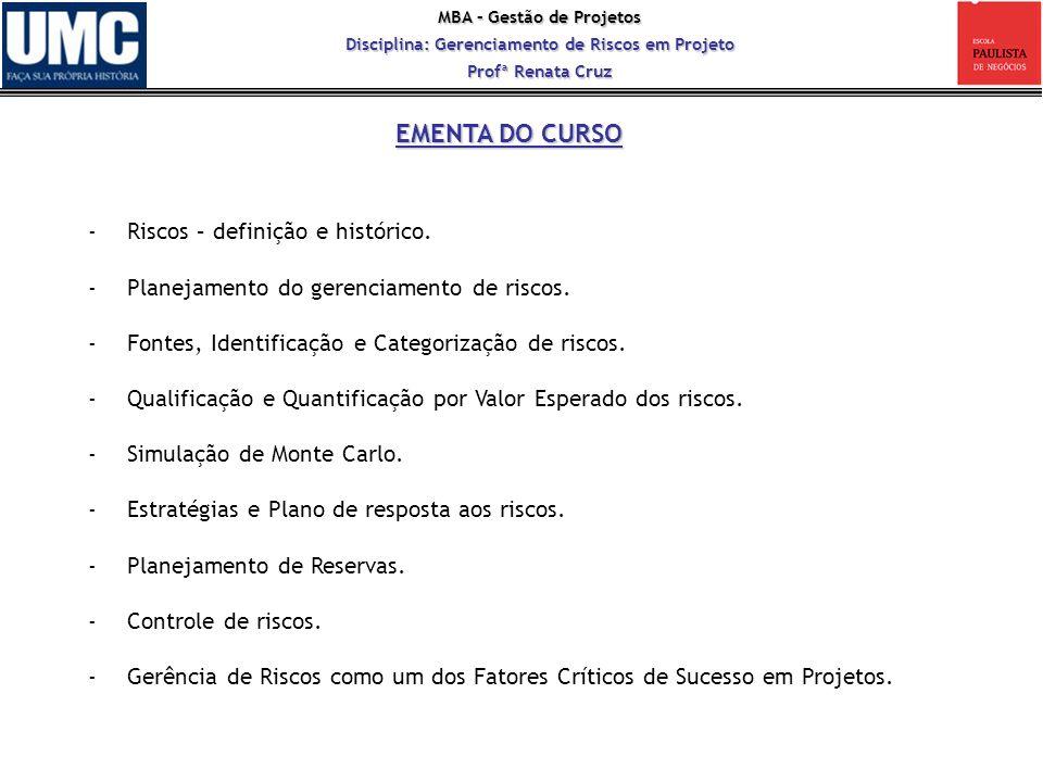 MBA – Gestão de Projetos Disciplina: Gerenciamento de Riscos em Projeto Profª Renata Cruz -Riscos – definição e histórico. -Planejamento do gerenciame