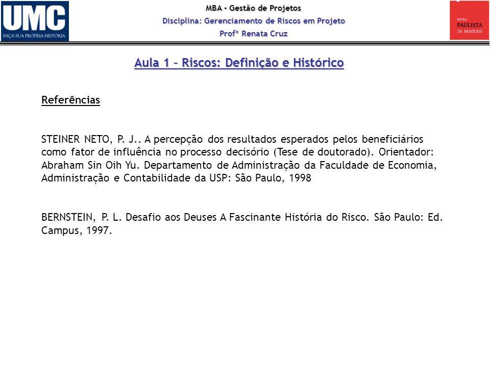MBA – Gestão de Projetos Disciplina: Gerenciamento de Riscos em Projeto Profª Renata Cruz Aula 1 – Riscos: Definição e Histórico Referências STEINER N