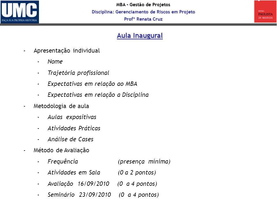 MBA – Gestão de Projetos Disciplina: Gerenciamento de Riscos em Projeto Profª Renata Cruz Aula 1 – Riscos: Definição e Histórico Referências STEINER NETO, P.