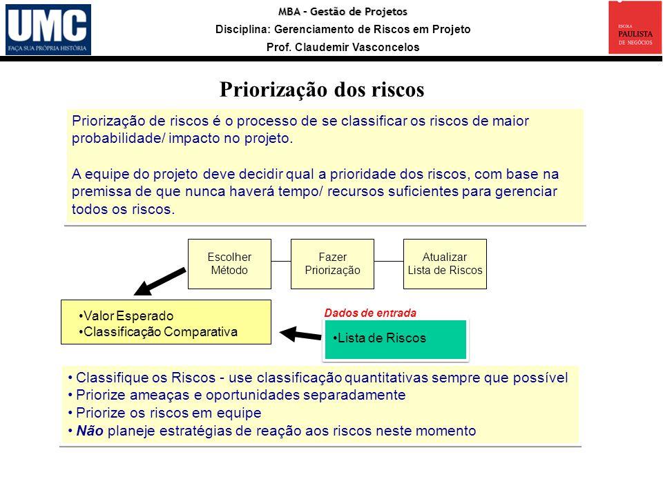 MBA – Gestão de Projetos Disciplina: Gerenciamento de Riscos em Projeto Prof. Claudemir Vasconcelos Priorização de riscos é o processo de se classific
