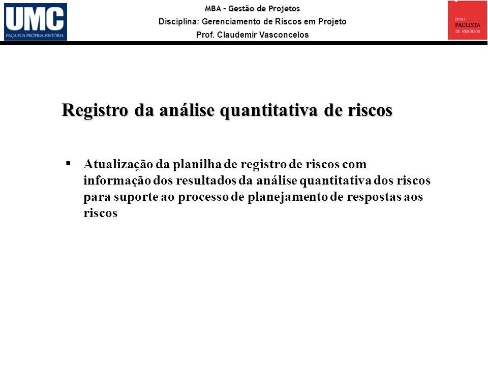 MBA – Gestão de Projetos Disciplina: Gerenciamento de Riscos em Projeto Prof. Claudemir Vasconcelos Registro da análise quantitativa de riscos Atualiz