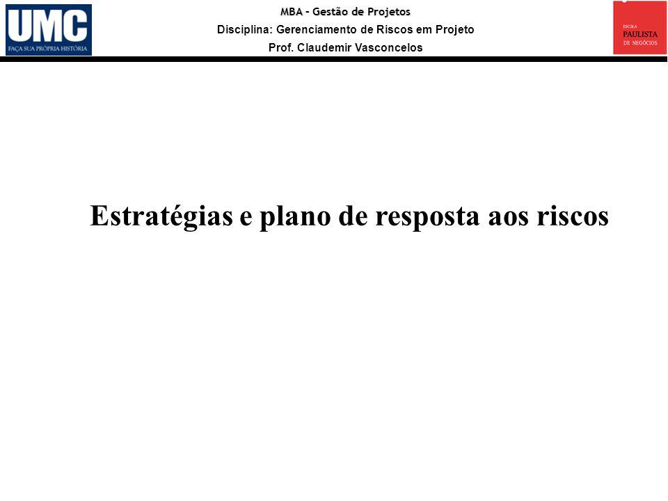 MBA – Gestão de Projetos Disciplina: Gerenciamento de Riscos em Projeto Prof. Claudemir Vasconcelos Estratégias e plano de resposta aos riscos