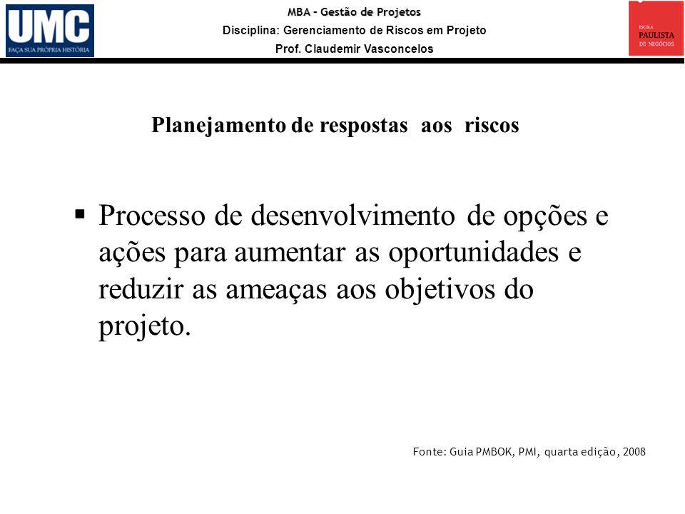MBA – Gestão de Projetos Disciplina: Gerenciamento de Riscos em Projeto Prof. Claudemir Vasconcelos Processo de desenvolvimento de opções e ações para