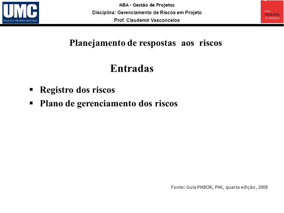 MBA – Gestão de Projetos Disciplina: Gerenciamento de Riscos em Projeto Prof. Claudemir Vasconcelos Registro dos riscos Plano de gerenciamento dos ris