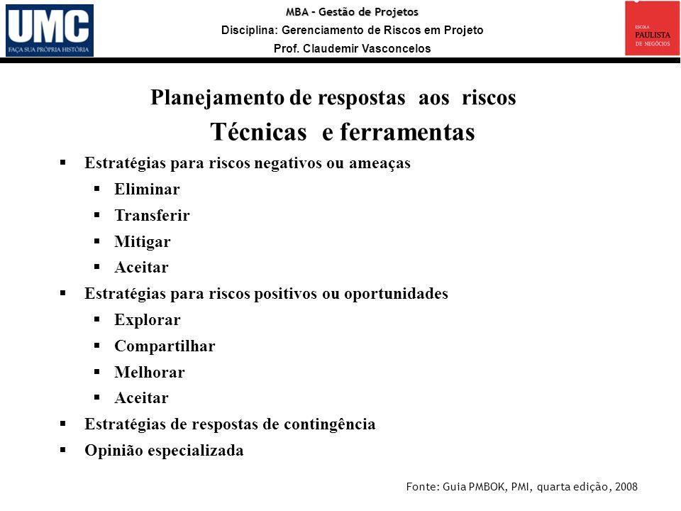 MBA – Gestão de Projetos Disciplina: Gerenciamento de Riscos em Projeto Prof. Claudemir Vasconcelos Estratégias para riscos negativos ou ameaças Elimi