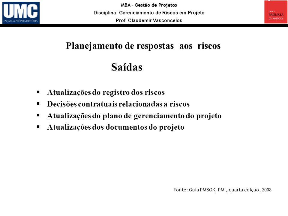 MBA – Gestão de Projetos Disciplina: Gerenciamento de Riscos em Projeto Prof. Claudemir Vasconcelos Saídas Atualizações do registro dos riscos Decisõe