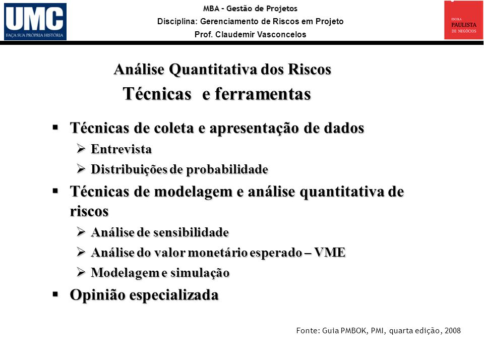 MBA – Gestão de Projetos Disciplina: Gerenciamento de Riscos em Projeto Prof. Claudemir Vasconcelos Técnicas de coleta e apresentação de dados Técnica