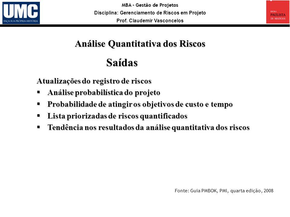 MBA – Gestão de Projetos Disciplina: Gerenciamento de Riscos em Projeto Prof. Claudemir Vasconcelos Saídas Atualizações do registro de riscos Análise