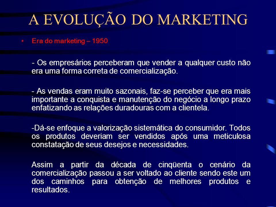 A EVOLUÇÃO DO MARKETING Era dos Clientes -Não mais produzir e vender e sim, satisfazer à clientela, consultando-a antes de produzir qualquer coisa. -U