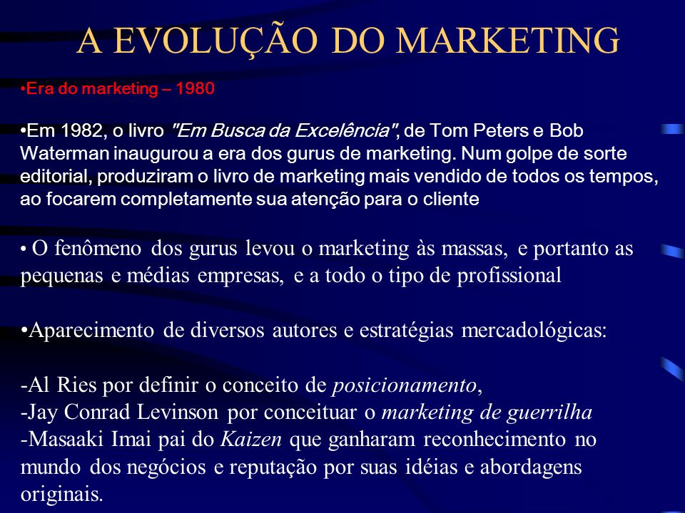 A EVOLUÇÃO DO MARKETING Era do marketing – 1970 surgimento departamentos e diretorias de marketing em todas as grandes empresas época que se multiplic