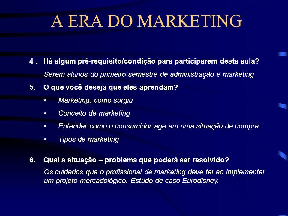 A EVOLUÇÃO DO MARKETING Era do marketing – 1950 - Os empresários perceberam que vender a qualquer custo não era uma forma correta de comercialização.
