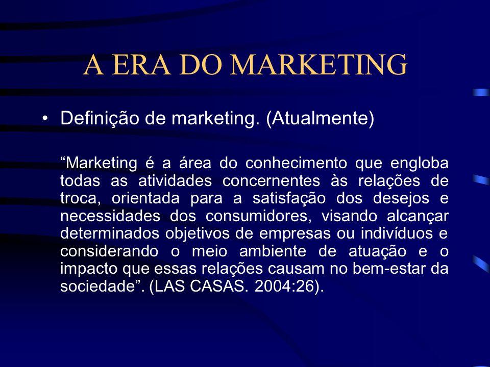 A ERA DO MARKETING Marketing pode ser definido como o conjunto de atividades que objetivam a análise, o planejamento, a implementação e o controle de