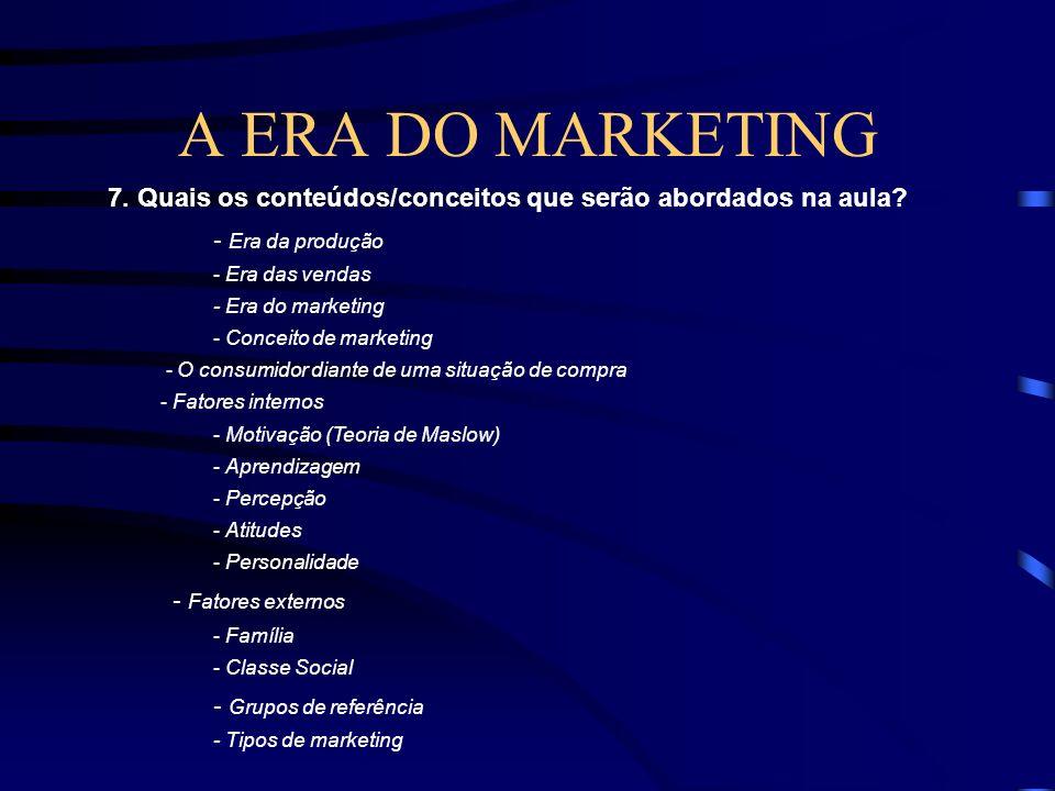 A ERA DO MARKETING 4. Há algum pré-requisito/condição para participarem desta aula? Serem alunos do primeiro semestre de administração e marketing 5.