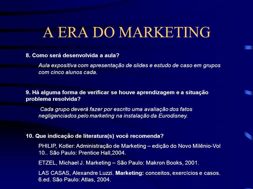 A ERA DO MARKETING 7. Quais os conteúdos/conceitos que serão abordados na aula? - Era da produção - Era das vendas - Era do marketing - Conceito de ma