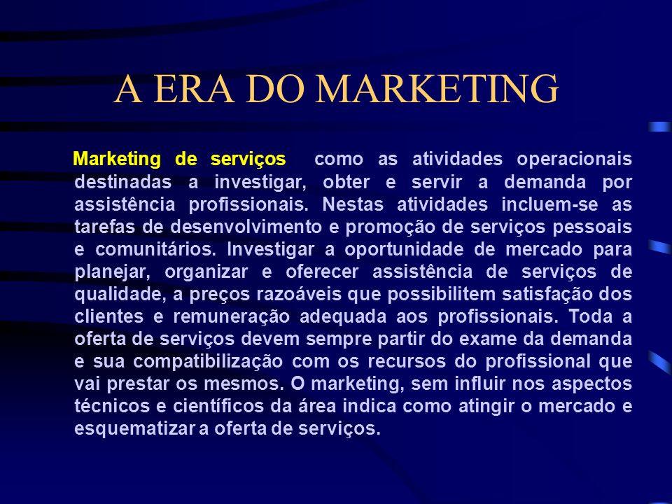 A ERA DO MARKETING O marketing de produtos destina-se a bens de consumo não duráveis, como alimentação, produtos de higiene pessoal, vestuário; produt