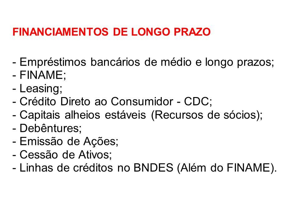 FINANCIAMENTOS DE LONGO PRAZO - Empréstimos bancários de médio e longo prazos; - FINAME; - Leasing; - Crédito Direto ao Consumidor - CDC; - Capitais a