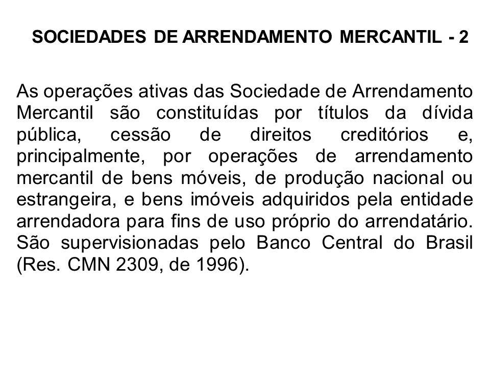 SOCIEDADES DE ARRENDAMENTO MERCANTIL - 2 As operações ativas das Sociedade de Arrendamento Mercantil são constituídas por títulos da dívida pública, c