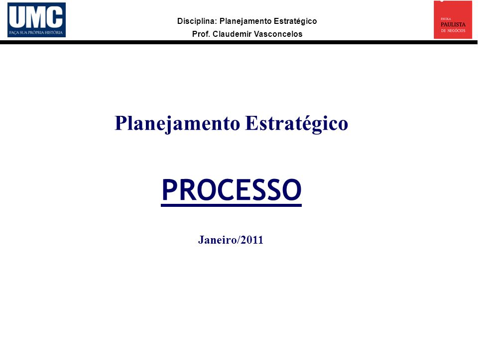 Disciplina: Planejamento Estratégico Prof.