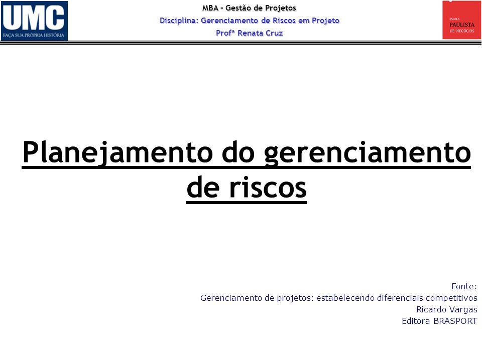 MBA – Gestão de Projetos Disciplina: Gerenciamento de Riscos em Projeto Profª Renata Cruz Planejamento do gerenciamento de riscos Fonte: Gerenciamento