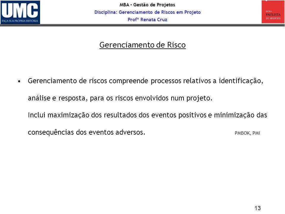 MBA – Gestão de Projetos Disciplina: Gerenciamento de Riscos em Projeto Profª Renata Cruz Gerenciamento de riscos compreende processos relativos a ide