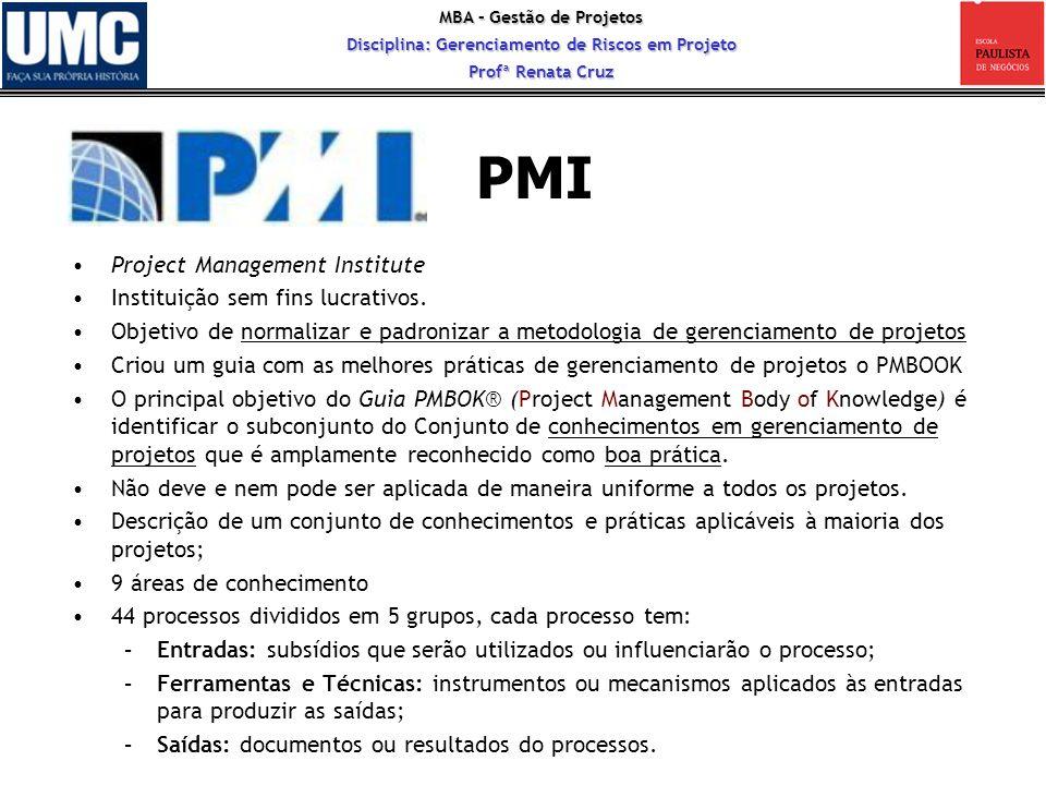 MBA – Gestão de Projetos Disciplina: Gerenciamento de Riscos em Projeto Profª Renata Cruz 17 PMI Project Management Institute Instituição sem fins luc
