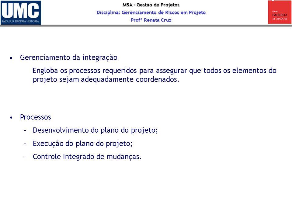 MBA – Gestão de Projetos Disciplina: Gerenciamento de Riscos em Projeto Profª Renata Cruz Gerenciamento da integração Engloba os processos requeridos