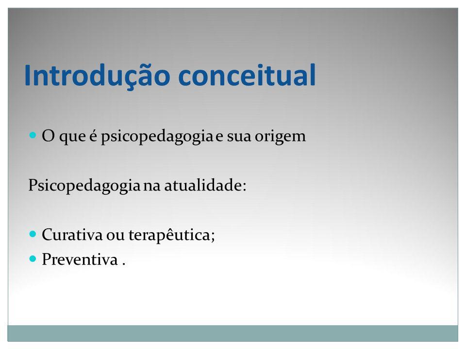 Introdução conceitual O que é psicopedagogia e sua origem Psicopedagogia na atualidade: Curativa ou terapêutica; Preventiva.
