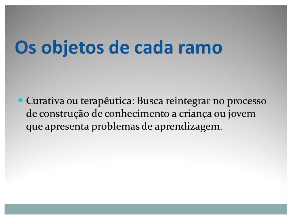 Os objetos de cada ramo Curativa ou terapêutica: Busca reintegrar no processo de construção de conhecimento a criança ou jovem que apresenta problemas