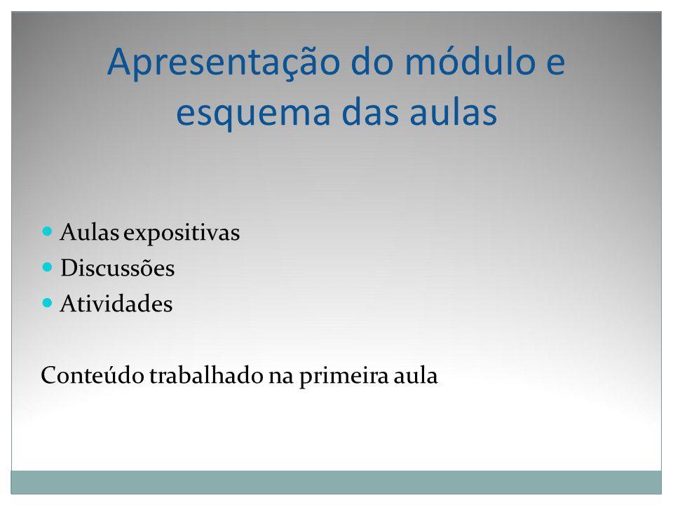 Apresentação do módulo e esquema das aulas Aulas expositivas Discussões Atividades Conteúdo trabalhado na primeira aula