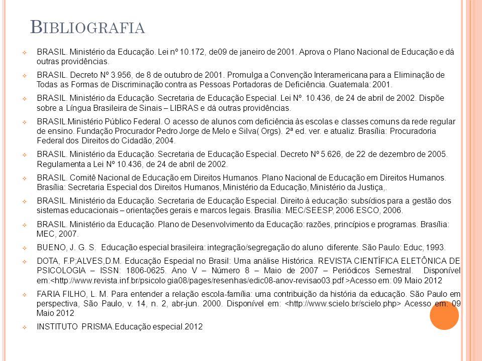 B IBLIOGRAFIA BRASIL. Ministério da Educação. Lei nº 10.172, de09 de janeiro de 2001. Aprova o Plano Nacional de Educação e dá outras providências. BR