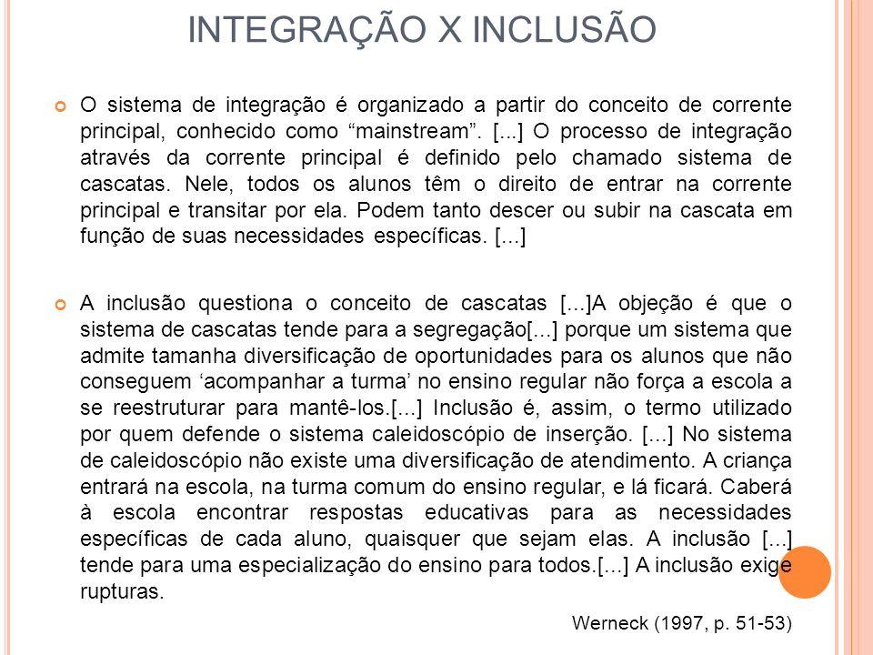 INTEGRAÇÃO X INCLUSÃO O sistema de integração é organizado a partir do conceito de corrente principal, conhecido como mainstream. [...] O processo de