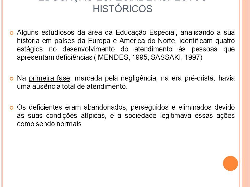 EDUCAÇÃO ESPECIAL E ASPECTOS HISTÓRICOS Alguns estudiosos da área da Educação Especial, analisando a sua história em países da Europa e América do Nor