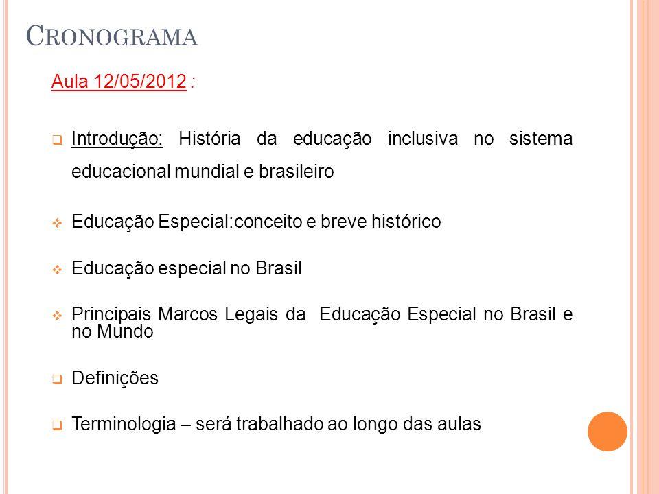 C RONOGRAMA Aula 12/05/2012 : Introdução: História da educação inclusiva no sistema educacional mundial e brasileiro Educação Especial:conceito e brev