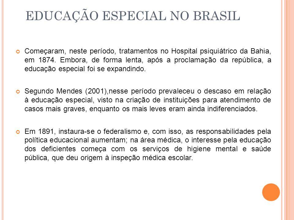 EDUCAÇÃO ESPECIAL NO BRASIL Começaram, neste período, tratamentos no Hospital psiquiátrico da Bahia, em 1874. Embora, de forma lenta, após a proclamaç