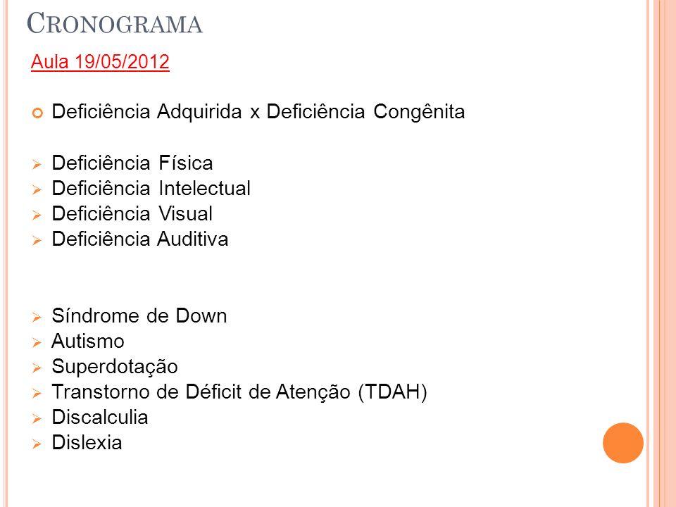 C RONOGRAMA Aula 19/05/2012 Deficiência Adquirida x Deficiência Congênita Deficiência Física Deficiência Intelectual Deficiência Visual Deficiência Au