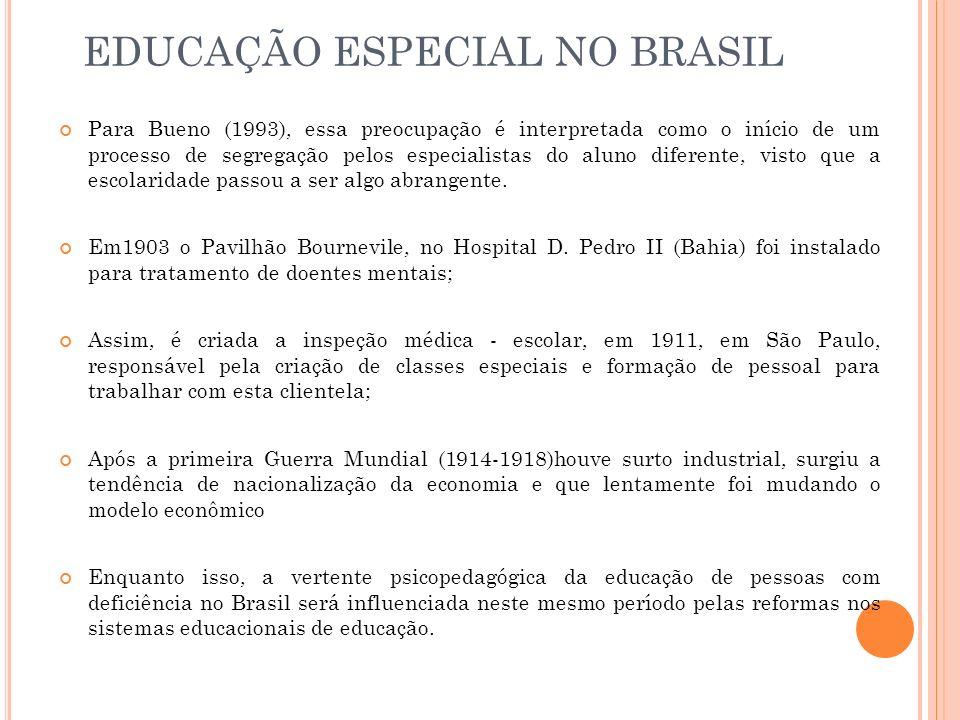 Para Bueno (1993), essa preocupação é interpretada como o início de um processo de segregação pelos especialistas do aluno diferente, visto que a esco