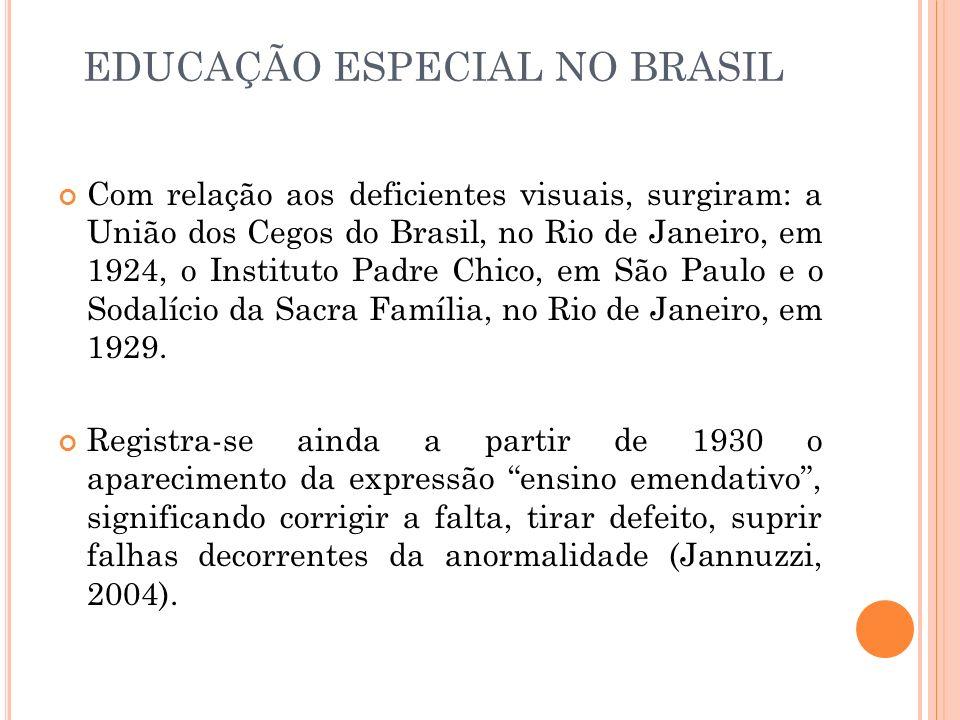 Com relação aos deficientes visuais, surgiram: a União dos Cegos do Brasil, no Rio de Janeiro, em 1924, o Instituto Padre Chico, em São Paulo e o Soda