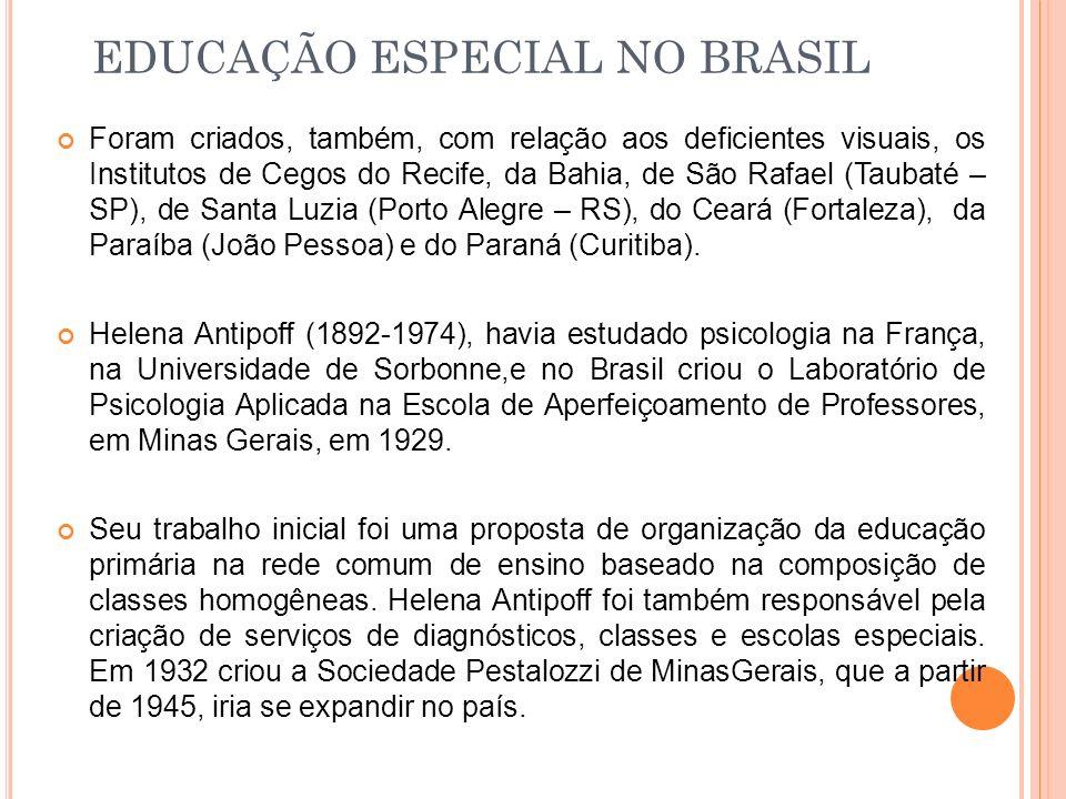 Foram criados, também, com relação aos deficientes visuais, os Institutos de Cegos do Recife, da Bahia, de São Rafael (Taubaté – SP), de Santa Luzia (