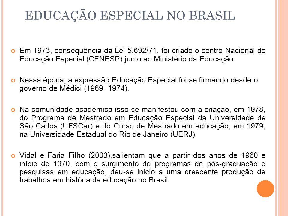 Em 1973, consequência da Lei 5.692/71, foi criado o centro Nacional de Educação Especial (CENESP) junto ao Ministério da Educação. Nessa época, a expr